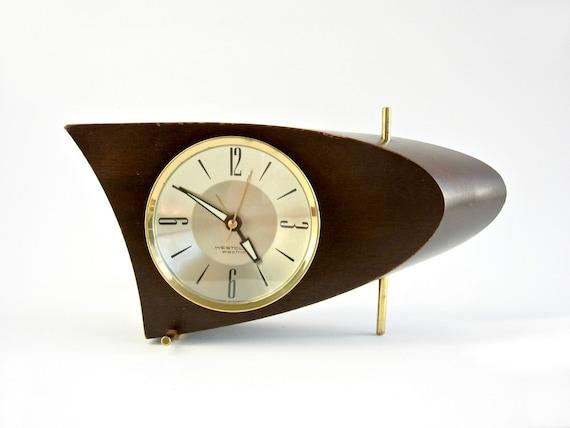 mid century modern westclox 707 mahogany boomerang clock s10 ab