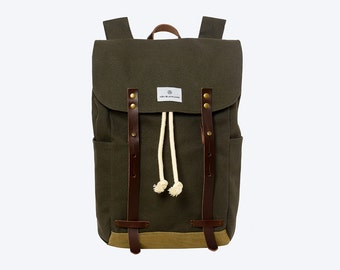"No. 2 - Canvas and Waxed Backpack, Canvas Backpack, Green Waxed Canvas Backpack, 13"" of 15"" Laptop Backpack, Waxed Canvas Laptop Backpack"