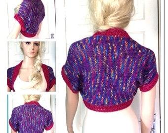 SALE Designer,womens,teens,hand crocheted/knit purple,magenta rainbow cardigan,jacket,bolero,shrug, hippie clothes,summer festival boho top