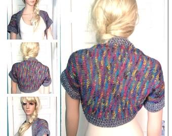 SALE was 38 NOW 28 Designer,womens,teens,hand crocheted/knit grey rainbow cardigan,jacket,bolero,shrug, hippie clothes,summer festival boho