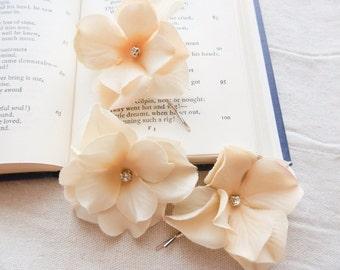 Cream rose hair pins hair clips wedding summer bridal hair accessories