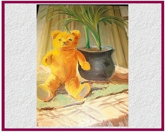"""1950 """"Teddy"""",  naive painting  oil on canvas."""