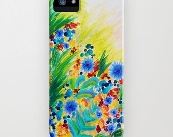 NATURAL ROMANCE Floral iPhone 4 5 SE 6 6s 7 Case Samsung Galaxy Case Hard Plastic Cell Phone Cover Garden Abstract Flowers Acrylic Painting