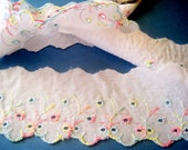 """Scalloped Embroidery Eyelet Trim, Pastels / White, 2"""" 1/2 inch wide, 1 Yard, For Heirloom, Nursery, Reborn, Dolls, Costume, Apparel, Decor"""