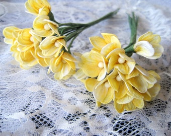 """Bridal Parchment Flowers,Yellow, 5"""" x 1/2"""" inch, x 2 bunches, For Bridal, Apparel, Crafted Gifts, Accessories, Home Decor, Victorian Crafts"""
