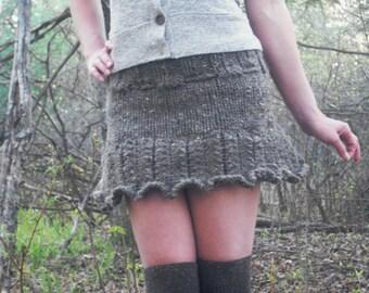 Pixie Skirt, Fairy Skirt, Woodland Skirt, Knit Skirt, Ruffle Mini Skirt, Hand Knitted Skirt, Festival Skirt, Festival Clothing