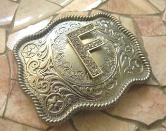 Monogram Letter F Personalized Silver Belt Buckle, Rhinestone Initial F Monogrammed Womens Mens Kids Western Belt Buckle, Custom Belt Buckle