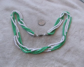 Vintage Necklace- Creamy White & Grass Green 4 Strand Beaded -N 761