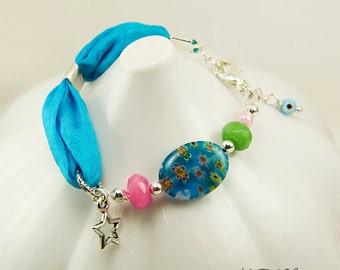 Kids Bracelet, Blue Silk Girl's Bracelet, Millefiori Bead and Jade Stones, Shabby Chic, Colorful Childs Bracelet, Pink Green Blue