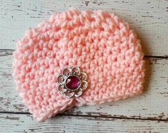 SALE Newborn Baby Girl crochet hat with rhinestone, pink, beanie, baby girl fashion, infant hat, turban, photo prop, Easter accessories