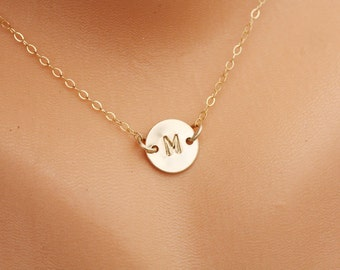 Personalized initial necklace,Initial disc necklace,Gold Filled initail,Birthday gift,Bridesmaid gifts,Mother's Jewelry,best friend gift