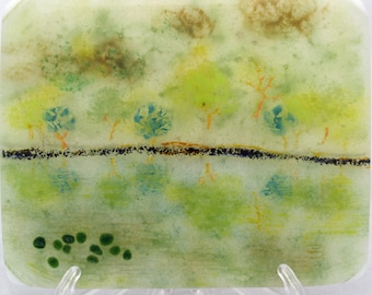 Trees at Buttermere fused glass scene (LD30)