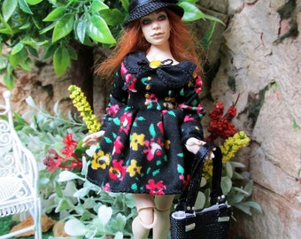 Wearable woman dress (black with flowers) for 1:12 scale doll house dolls