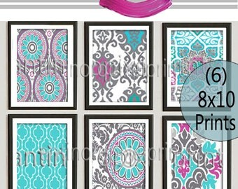Turquoise Grey Fuchsia Digital Print Wall Art Prints Vintage / Modern Inspired  - Set of (6) - 8 x 10