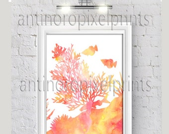 Beach Fish Coral Watercolor Yellow Corals Ikat inspired Art Print Collection - (1)  8x10 Print - Custom Colors, Sizes Available