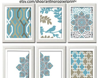 Home Decor Digital Wall Art Vintage / Modern Ikat / Bird Inspired Art Prints -Set of 6 - 8x10 Prints  -   Blue / Khaki Grey  (UNFRAMED)
