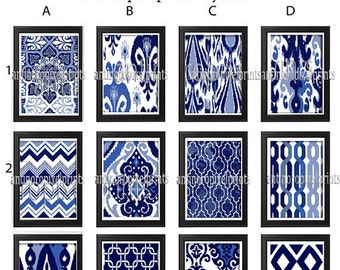 Navy Indigo Ikat Vintage / Modern inspired Art Prints Collection  - Any (1) Wall Art Print -  Navy Indigo Blue White (UNFRAMED)