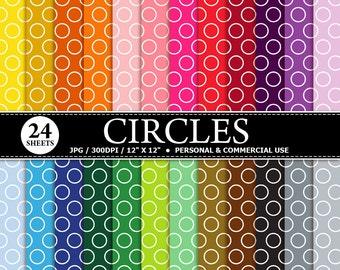 70% OFF SALE 24 Bordered Circles Digital Scrapbook Paper, digital paper patterns for card making, invitations, scrapbooking