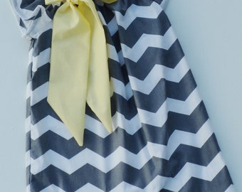 Custom Boutique Grey Chevron Peasant Dress with Yellow Bow Sizes 0-6 mo, 6-12mo, 12-18mo, 18-24mo, 2t, 3t, 4t, 5/6, 7/8
