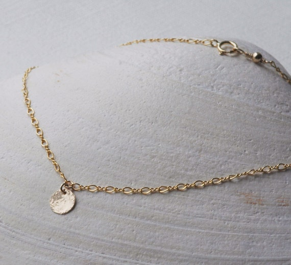 Dainty Gold Anklet / Initial Tag / Thin Gold Chain, Personalized Jewelry, Silver Anklet, Gold Disc Anklet, Beach Weddings, Bridesmaid Gifts