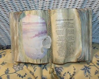 Vintage Footprints In the Sand done book style / Book Display:)