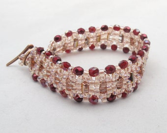Red & Blush Pink Woven Bracelet with CopperToggle Clasp