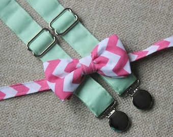 Pink and White Chevron Bow Tie and Solid Mint Suspenders set  ( Men, boys, baby, toddler, infant ) outfit