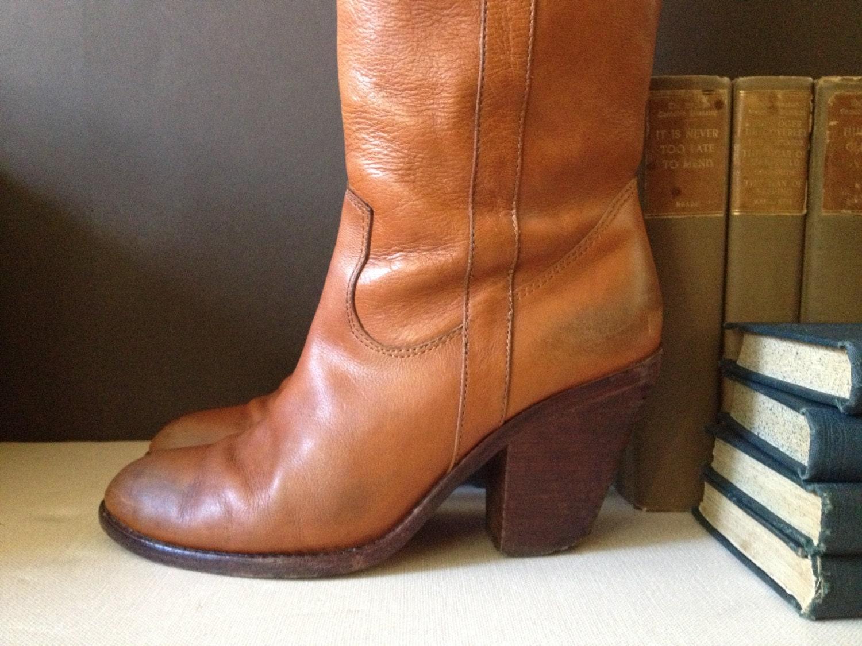 vtg knee high cus boots cognac size 38 eu