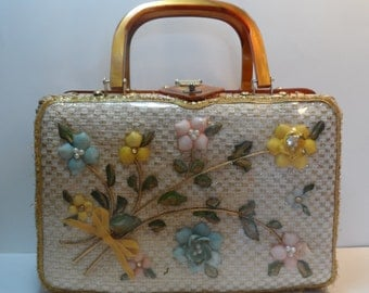 Wicker and Faux Tortoiseshell Floral Sea Shell Shadow Box Window Handbag Purse