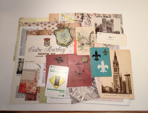 30 pc. FRENCH THEME Mixed Media Ephemera Scrap Pack, Vintage Paper Ephemera Pack for Collage, Altered ARt