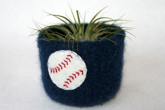 baseball navy blue wool felted vessel cup spring sport