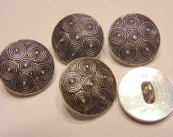 5 vintage swirl design metal buttons, 18 mm (2)
