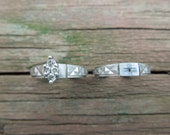 His and Hers Rings, Sterling Silver with Diamonds, Both Size 5