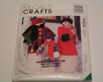 McCalls Crafts Pattern P400 Snowman Greeters by Faye Wine