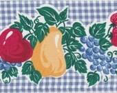 Wide Cotton Border Trim - Fruit On Blue Gingham