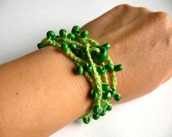 Linen Crochet Bracelet, Crochet Beaded bracelet, Bohemian, Crochet Bracelet, Birthday gift, Shabby chic bracelet, Wedding, Romantic Bracelet
