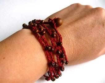 Shabby chic bracelet, linen crochet bracelet, crochet beaded bracelet, Bohemian, crochet bracelet, Birthday gift, wedding romantic bracelet