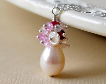 Bridal Necklace, Freshwater Pearl Drop, Ruby Blush Pink Rose Quartz Gemstone, Sterling Silver Jewelry - Pearl Blush - Free Shipping
