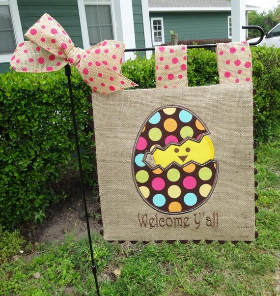 Burlap Garden Flag Easter Chick Welcome Yall Embroidery