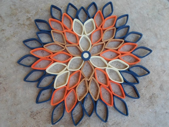 Dahlia wall hanging Paper wall art Orange dark blue home decor Trendy  Modern Bedroom wall decor
