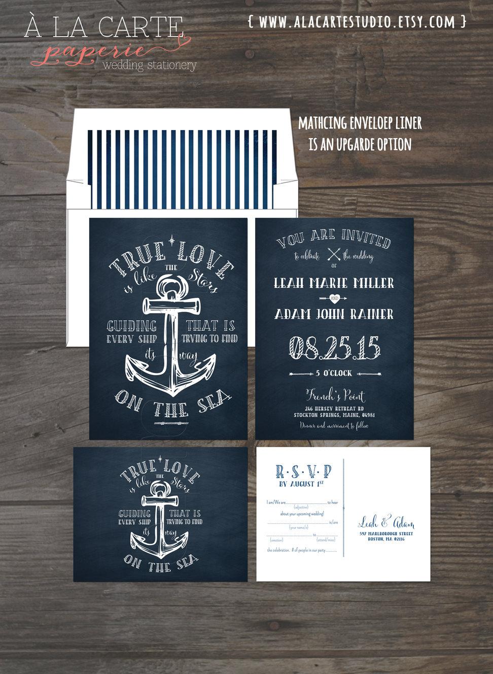 true love nautical anchor wedding invitation and rsvp card