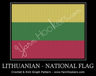 Lithuania National Flag - Afghan Crochet Graph Pattern Chart by Yarn Hookers