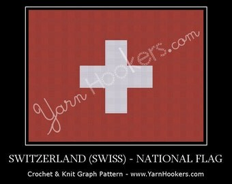 Switzerland (Swiss) National Flag - Afghan Crochet Graph Pattern Chart - Instant Download