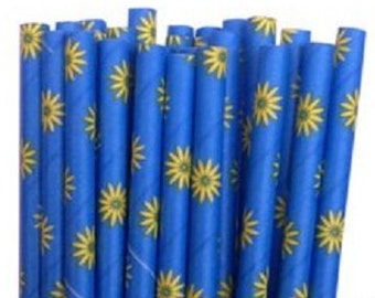Blue Daisy Paper Straws