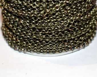 32ft 3mm Antique Brass Rolo Chain