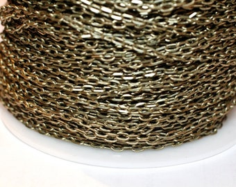 32ft Antique Brass Chain- Cable Chain 4x2mm soldered