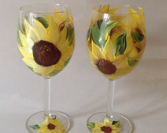 Wedding, Brides maid, anniversary Wine Glass Sun Flower