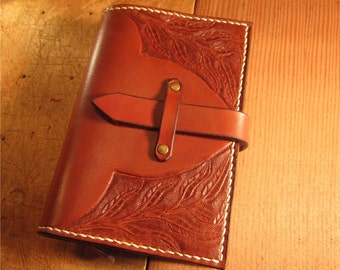Refillable Leather journal cover, notebook cover with hand tooled design and clasp. Moleskine / Field Notes