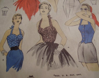 Vintage 1950's Advance 6689 Bombshell Pinup Halter Tops Sewing Pattern, Size 14, Bust 32