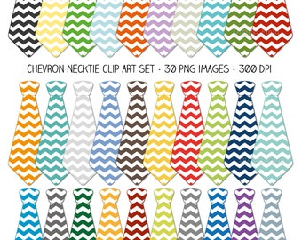 Chevron necktie clip art set - colorful printable digital clipart - instant download